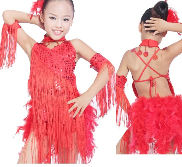 Free Shipping kids child girls latin Dress Baby Girl Sequin Feather Fringe  Stage Performance Competition Ballroom Dance Costume 651dd9be8670