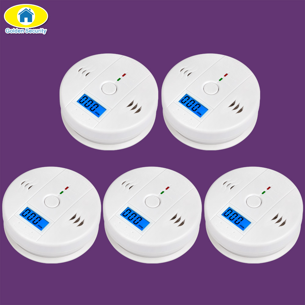 Golden Security 5Pcs LCD Photoelectric Independent CO Gas Sensor Carbon Monoxide Poisoning Alarm Wireless CO Detector for Home golden security lpg detector wireless digital led display combustible gas detector for home alarm system