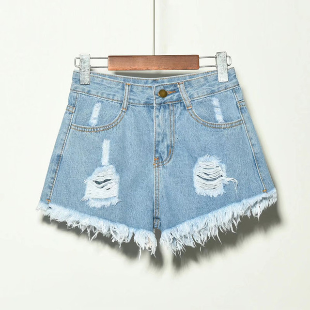 2019 sexy summer denim shorts women high waist Jean shorts female loose hole jeans shorts with pockets casual plus size S-6XL 2