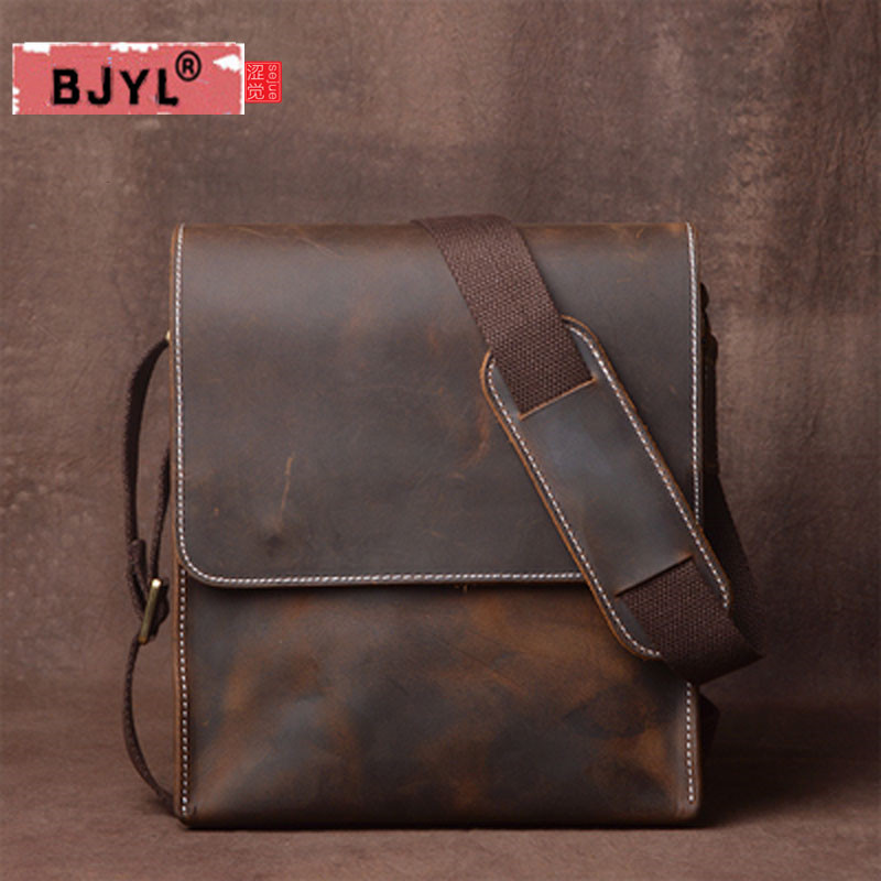 BJYL Men Shoulder Bag Genuine Leather Handbag Messenger Bag Vertical section Vintage Handmade Crazy Horse Leather crossbody bag waterproof business messenger bag cross section preppy style flap bag vertical section contracted joker men crossbody bag 0182