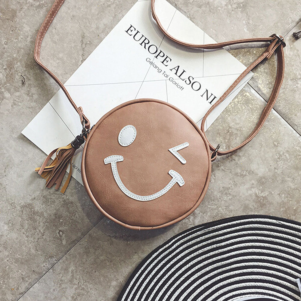Women Bag Ladies Leather Handbag Circular Smile Face Cross Body Shoulder Messenger Bag Bolsos Mujer Clutch High Quality Fashion body smile costa mesa