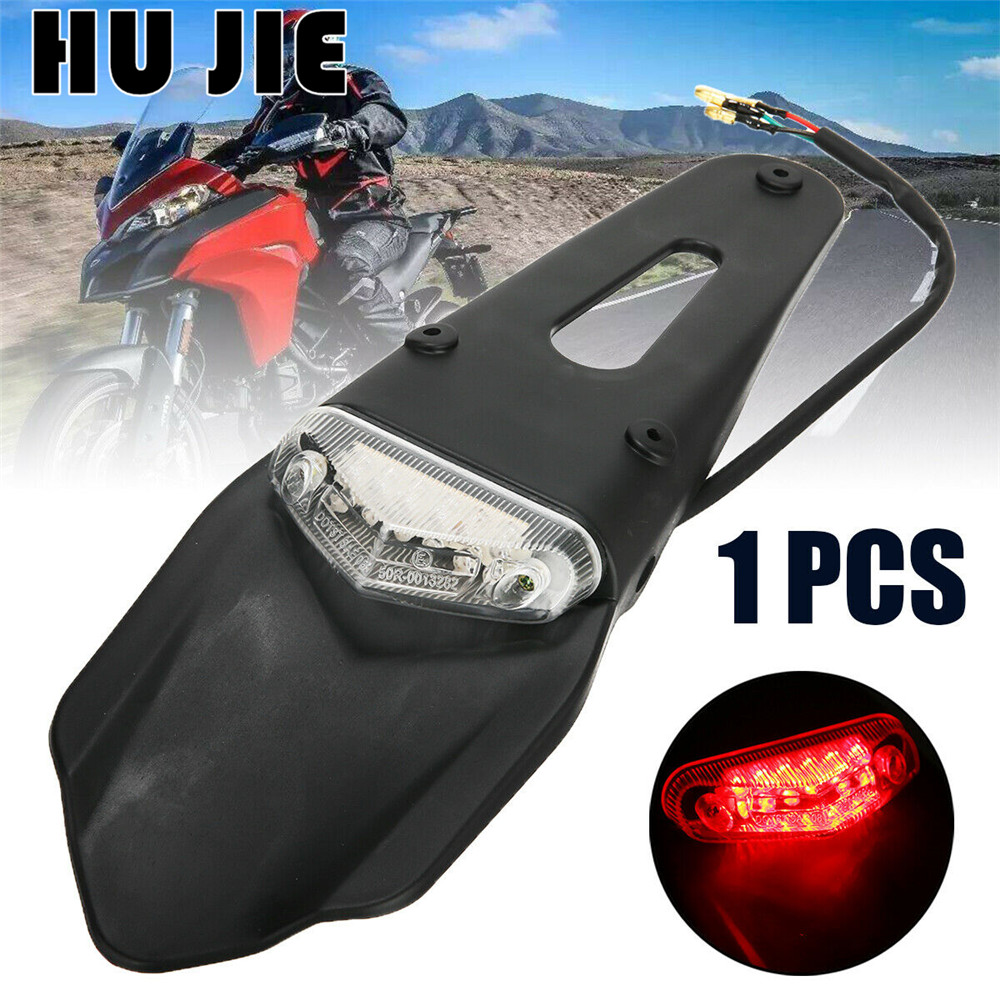 Universal Motorcycle Enduro Trial Dirt Bike Fender LED Stop Rear Tail Light Lamp For Honda XR400 CRF250 CRF450 Kawasaki KLX450R