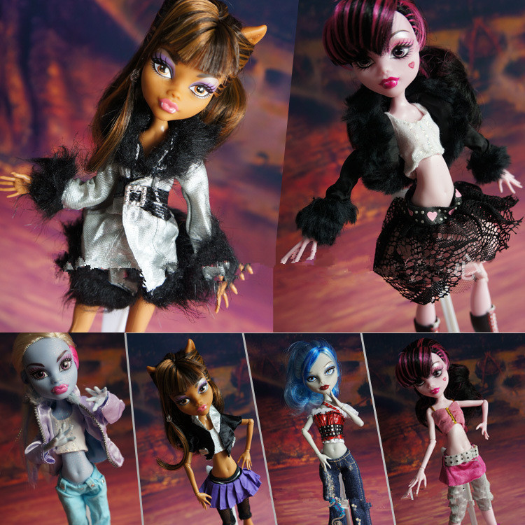 5 Pcs lot Original Casual Clothes Fashionable Denim Suit Dresses For Monster Dolls Mixed Styles Clothing