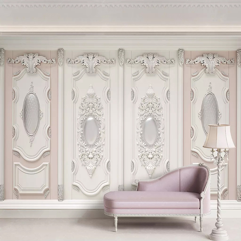 3D Wallpaper European Style Stereo Embossed Gypsum Carving Flowers Photo Wall Murals Living Room Bedroom Home Decor Wall Papers