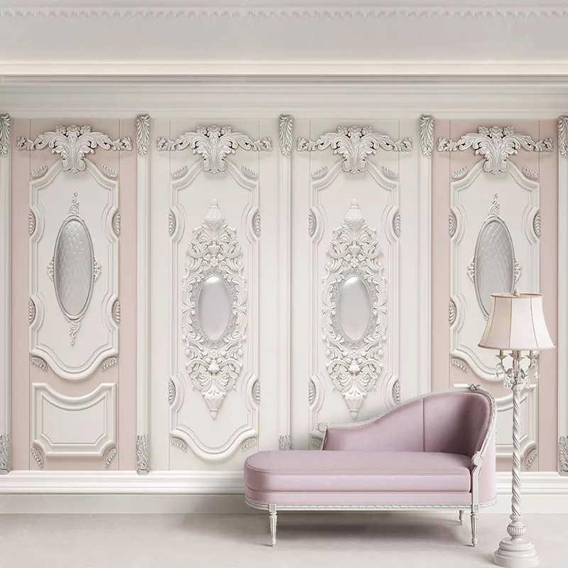 3D обои в европейском стиле, стерео рельефные гипсовые резные цветы, фотообои, настенные фрески для гостиной, спальни, домашний декор, обои