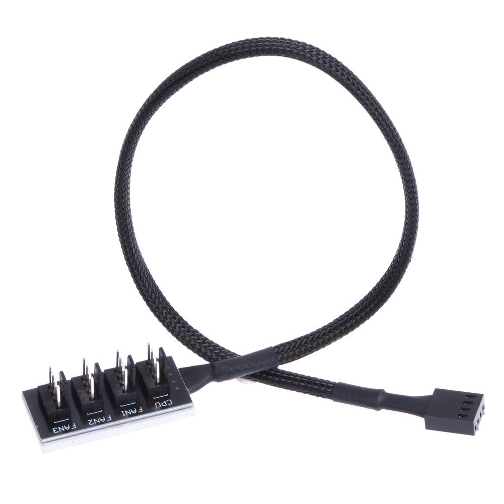 1 To 5 4-Pin PWM CPU Fan HUB Cooling Splitter Adapter Braided Power Cable 40cm ~