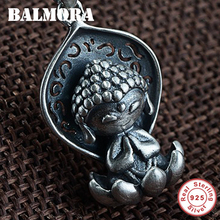 BALMORA 925 Sterling Silver Little Buddha Lotus Seat Cartoon Buddhism Pendants for Women Retro Jewelry Without a Chain SY14924