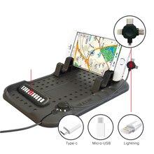 Силиконовый Автомобильный держатель для телефона Регулируемый кронштейн gps зарядка автомобильный держатель приборной панели с магнитным usb-кабелем для передачи данных с номером телефона