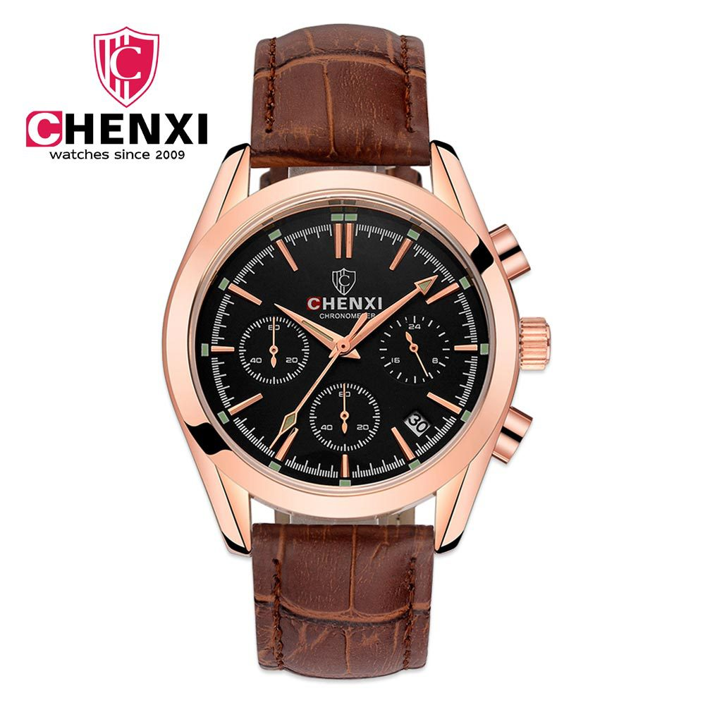 CHENXI Brand 2017 Men's Clock Multi function Luxury Men Rose Gold Watches Genuine Leather Waterproof Casual Chronograph Watch 9 cd