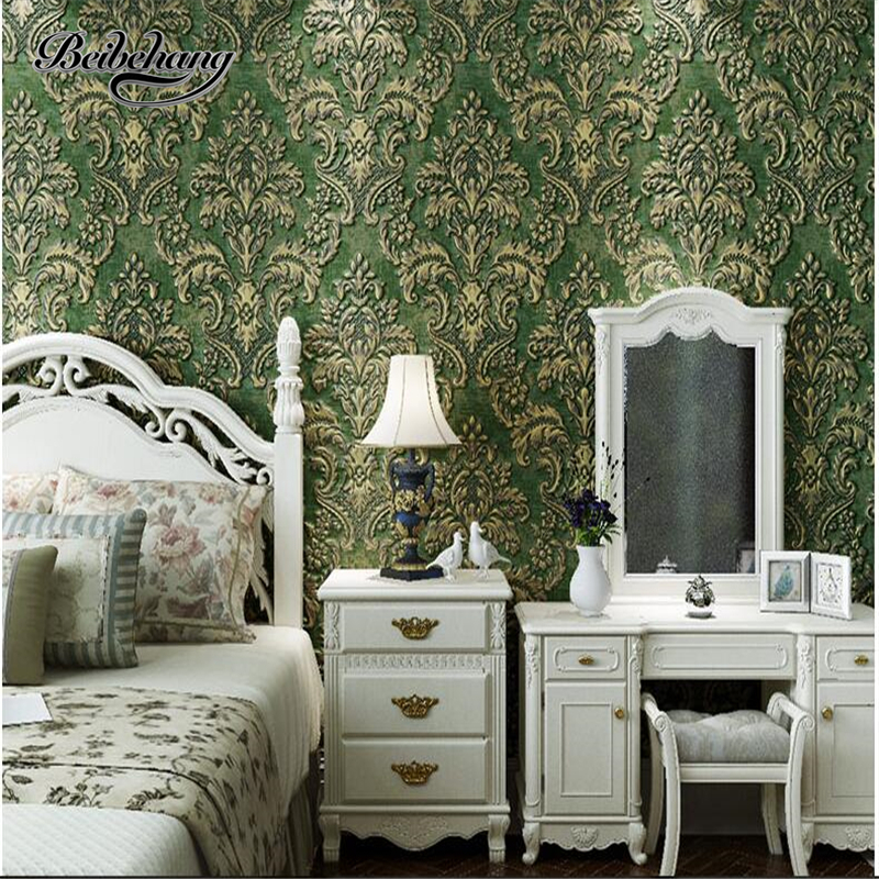 Beibehang papel de parede wallpaper wall background wallpaper non-woven thick 3d embossed living room bedroom wallpaper Napoleon beibehang papel de parede retro classic apple tree bird wallpaper bedroom living room background non woven pastoral wall paper