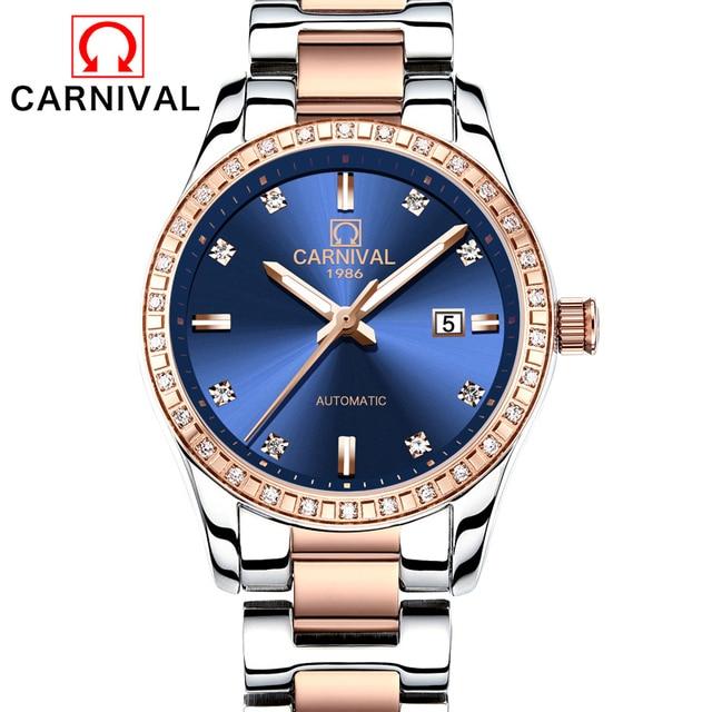 Карнавал смотреть Для женщин автоматические механические световой розовое золото Нержавеющаясталь Водонепроницаемый Обувь для девочек синий циферблат Часы
