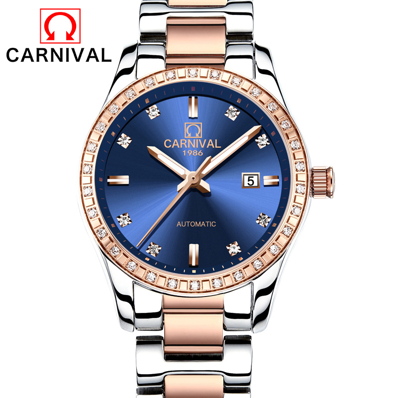 Carnival Watch Women Automatic Mechanical Luminous Rose Gold Stainless Steel Waterproof Girls Blue Dial Watches