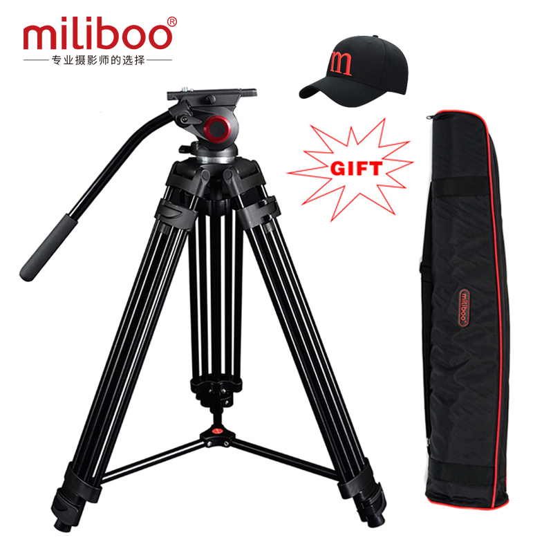 miliboo Professional Aluminum  Portable Video Tripod with Hydraulic Head Digital DSLR Camera Stand tripod better than manfrotto high quality professional aluminum 531bt photo video tripod with 531bh ball head portable digital camera tripod hot selling