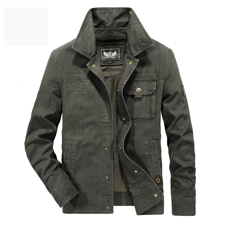 AFS JEEP chaqueta hombres militar abrigo sólido hombre otoño chaqueta Casaco Masculino Casual marca chaquetas hombres Outwear más talla 5XL 6XL-in Chaquetas from Ropa de hombre    1