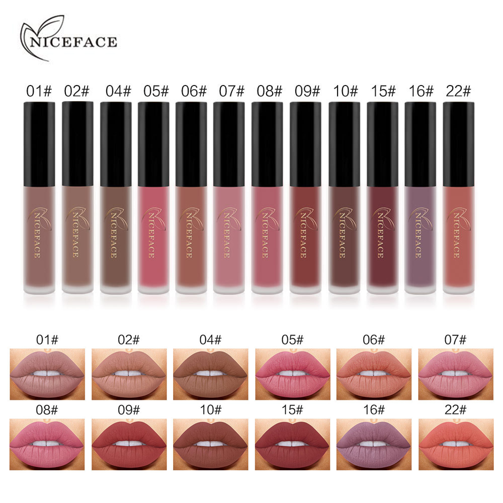 NICEFACE 12PCS/set Liquid Matte Lipstick Cosmetics Makeup Nude Lip Lipsticks Metallic Lip Gloss Stick Make up Lips Lipgloss sleek makeup губная помада lip v i p lipstick 3 6 гр 9 оттенков губная помада lip v i p lipstick 3 6 гр attitude тон 1012 3 6 гр