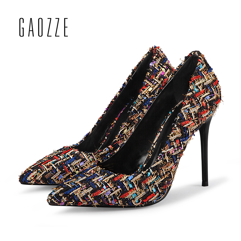 GAOZZE Fashion High Heels Pumps Party Women Shoes 2018 Spring New Colorful Woven Cloth 10cm Sexy Pointed Toe Heels Wedding Shoes