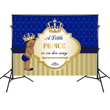 Mehofoto Prince Newborn Baby Shower Backdrop Crown Background Yellow and Blue Stripes Photography for Boy
