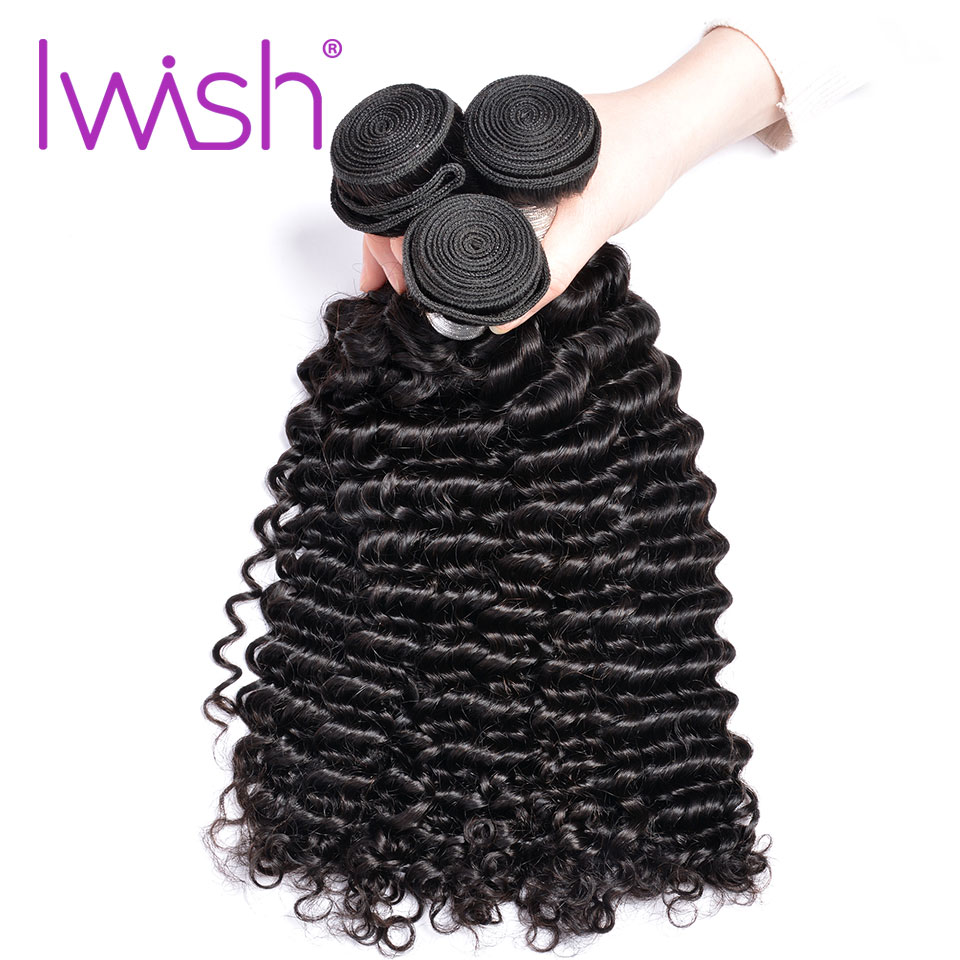 Iwish Indian Curly Hair Bundles Remy Hair Weaving 3PC 10-28 inch Human Hair Weave Bundles Natural Hair Extension ...