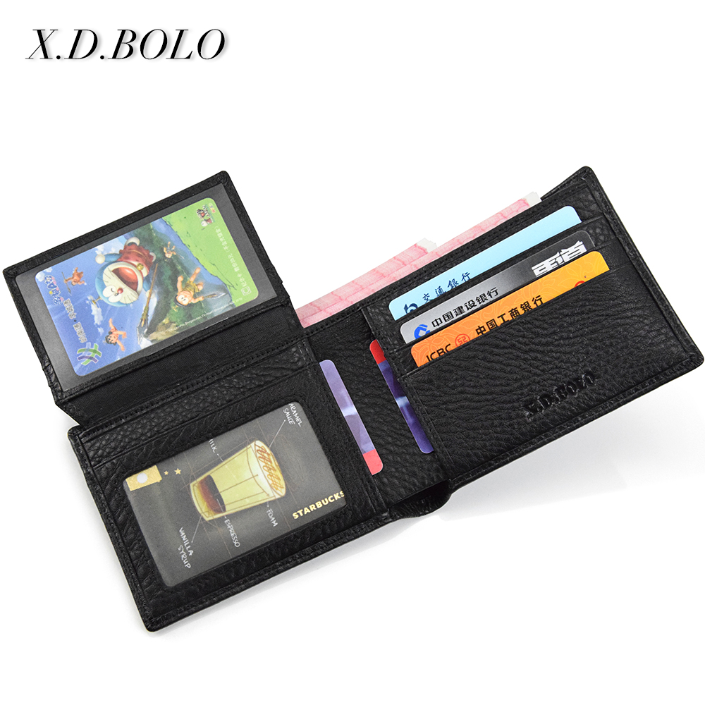 Mens Wallets Unique Purse Credit-Card-Holder 100%Genuine-Leather with Male XDBOLO