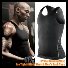 Pro Tight-fitting Stretch Men Tank Tops,Stronger Sport Undershirt GYM&Combat Running Training Body-building Base Layer Vest