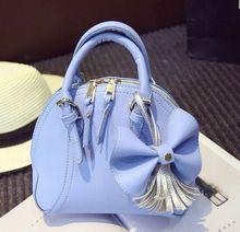 new spring and summer fashion sweet lady bow tassel mini portable shell bag, women girls shoulder diagonal small bag