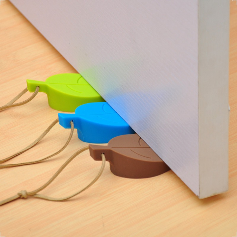 Baby Safety Door Door Stopper Wedge Leaves Shape Design Silicone Anti-pinch For Everyday Use