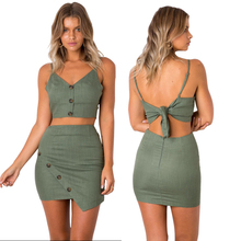 2 Piece Outfits for Women Fashion Festival Sets Crop Top and Skirt Strapless Sexy Club Party Co-ord Set 2019 Summer Clothing sexy self tie halter open back crop top and elastic waist hotpants co ord page 1
