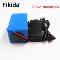Fikida 7S 24V 25.9V 29.4V 10Ah 18650 lithium battery pack electric bicycle light weight ebike Li ion batteries built in 15A BMS