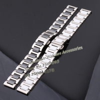 1pcs High Quality Watch Band Black Silver Ceramic Watchband Diamond Watch General 18mm Size Available Steel