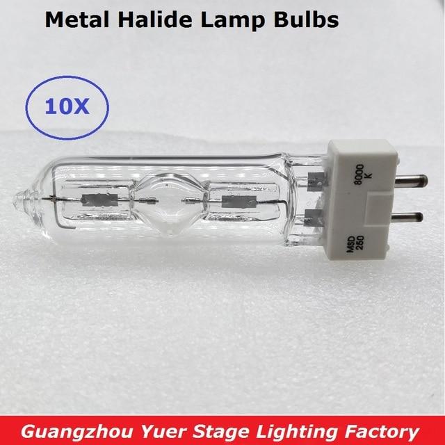 จัดส่งฟรี 10 ชิ้น/ล็อตโคมไฟดิสโก้เวทีแสงโคมไฟ MSD 250/2 MSD250W วัตต์ 90V MSR หลอดไฟ NSD 250W 8000K โลหะหลอดไฟฮาโลเจน