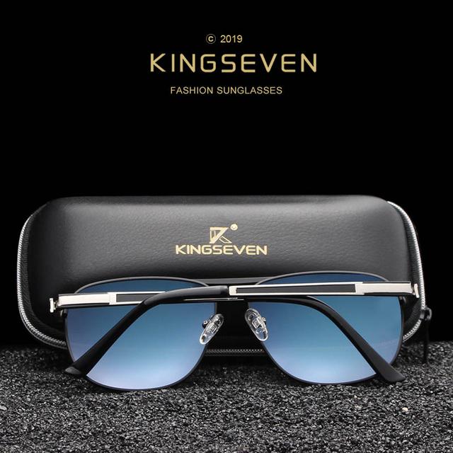 KINGSEVEN 2019 Stainless Steel Square Sunglasses Men's Polarized Mirror Sun Glasses Pilot Female Eyewears Accessories N738