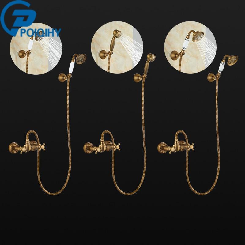 POIQIHY Promotion Antique Brass Bathroom Rain Shower Faucet Dual Cross Handles Hand Held Shower Sprayer poiqihy chrome rain