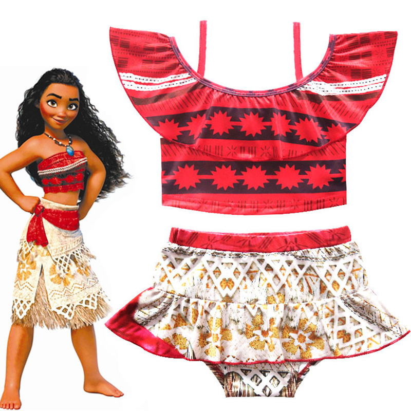 2018 Summer Gril Princess Moana Swim Dress Kids moana Swimwear Costume with skirt free shipping