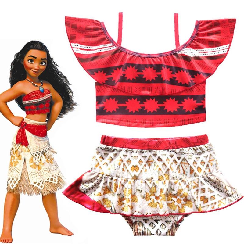 2018 Summer Gril Princess Moana Swim Dress Kids moana Swimwear Costume with skirt free shipping