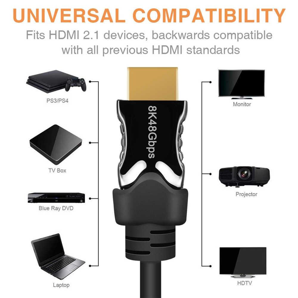 2020 حقيقي 48Gbps HDMI 2.1 كابل UHD 8K HDMI 2.1 كابل Dolby HDR فائق الدقة 2.1 كابلات HDMI 1 متر 2 متر RGB 4:4:4 كابو HDMI 2.1 الخائن