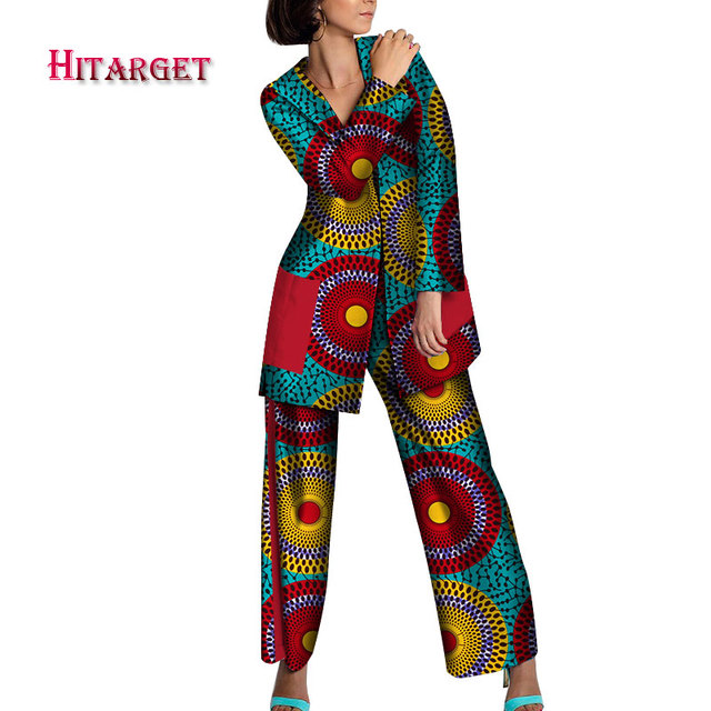 Barato Traje De Estampado Africano Conjunto Pantalones Hermosa Senora Dashiki Ropa Africana Con Talla Grande 100 Traje Algodon Cera Personalizado Wy3448