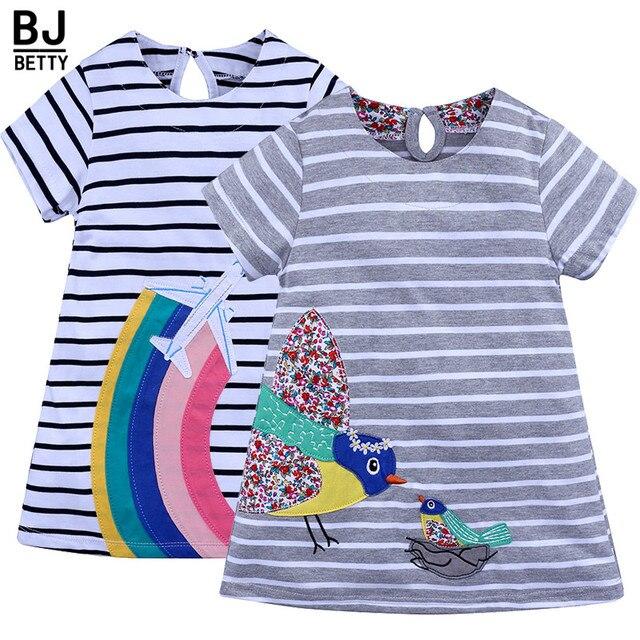 2018 Top Selling Baby Dresses Girls Short Sleeve Applique Animal