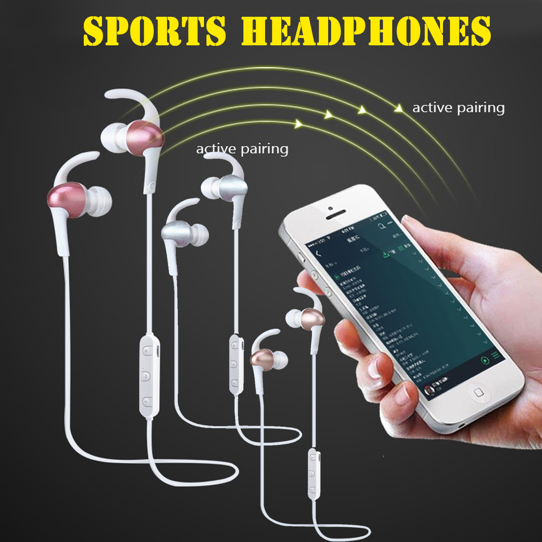 MAIF Sport Running Bluetooth Earphone Neckband Headphone Wireless Stereo Headset Waterproof Noise Cancelling For iPhone Android