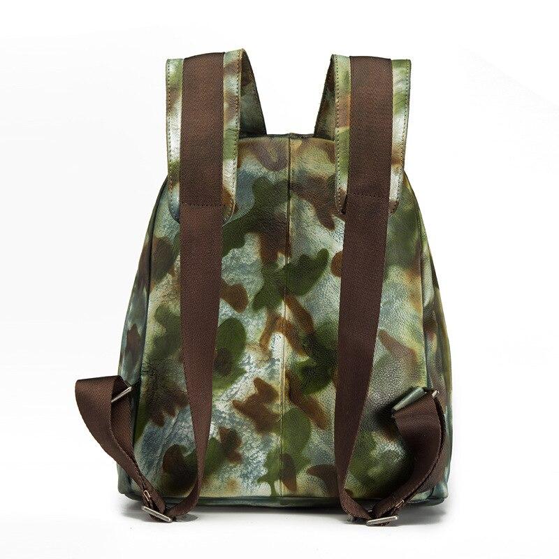 Véritable En Voyage brown Cartable À Camouflage Dos Nouveau Cuir Sac Vintage gris Sacs Épaule Hommes OxwXqSF0HI