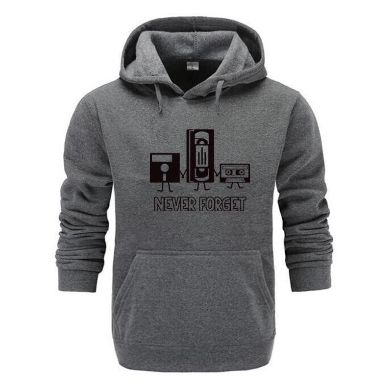 Never Forget Men Hooded Sweatshirt 100% Cotton Sarcastic Disks Saying Satire Humorous Programming Nerds Hoodie Print Hooded 2019