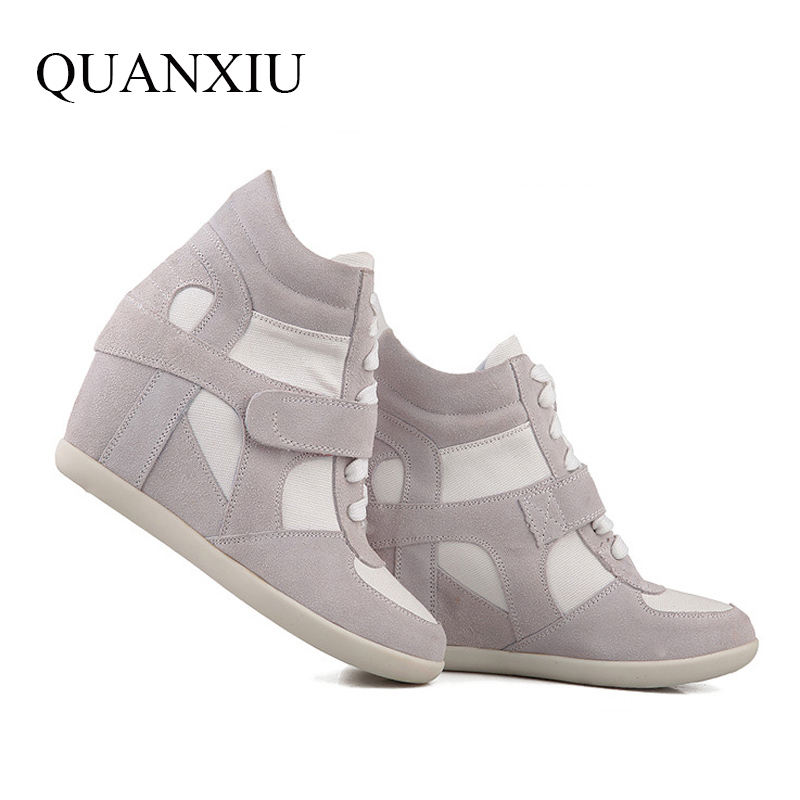ФОТО 2016 Spring Shoes Women Causal Sport Fashion Walking Flats Height Increasing Women Loafers Breathable Air Mesh Swing Wedges Shoe