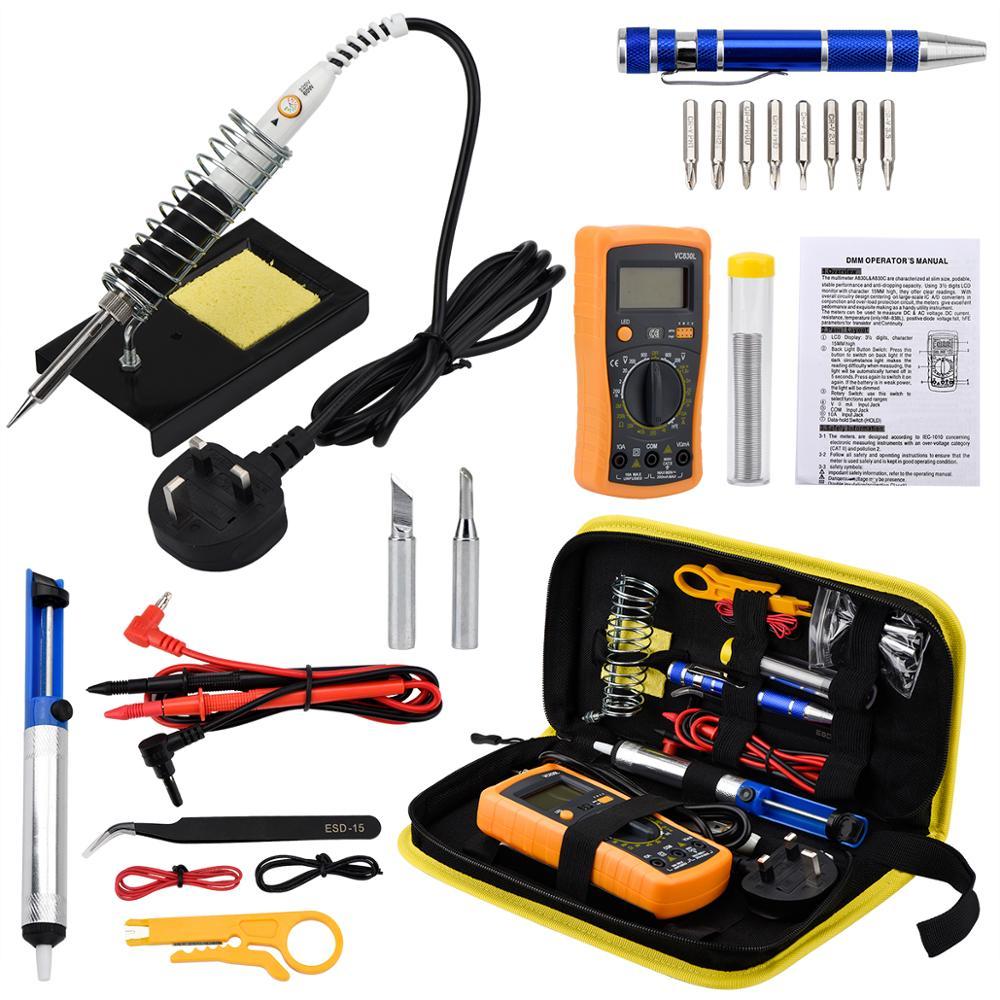 JCD Kit Ferro De Solda Elétrica 110 V 220 V 60 W Soldagem solda Ferro De Solda kit Com Bomba Desoldeirng Multímetro ferramentas de retrabalho