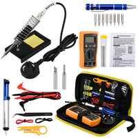 JCD Electric Soldering Iron Kit 110V 220V 60W Soldering Iron kit With Multimeter Desoldeirng Pump Welding solder rework Tools