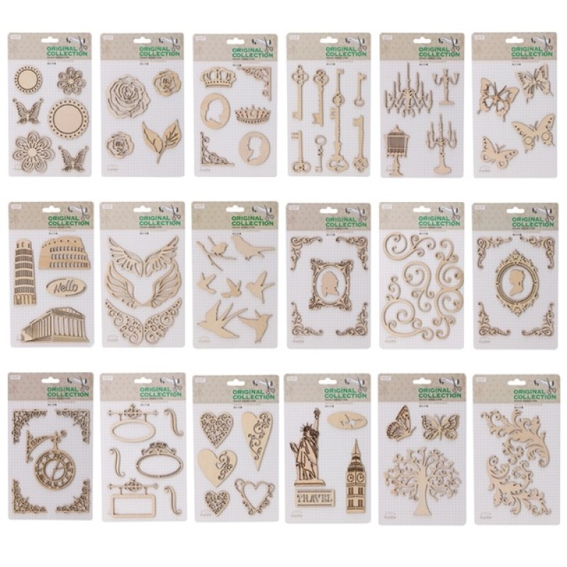Us 1 48 10 Off 18 Style For Choice Laser Die Cutting Wooden Veneer Embellishments Wood Shape For Scrapbooking Diy Craft Decor Hobby Use In Wood Diy
