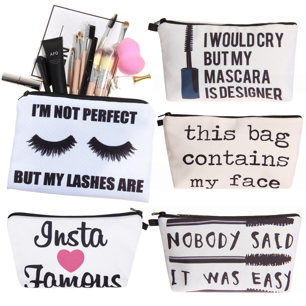 zipper pouch women fashion letters printing portable cute small makeup bag trousse de toilette