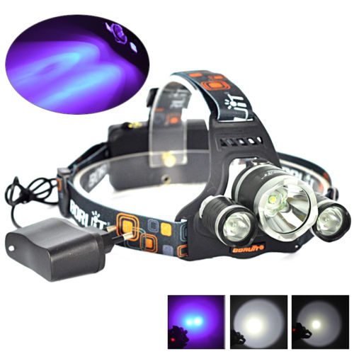 цена BORUIT 6000LM 3x XM-L T6+2R2 395nm UV LED 18650 Headlamp Headlight Torch+Charger Camping Fishing Cycling Rock Climbing