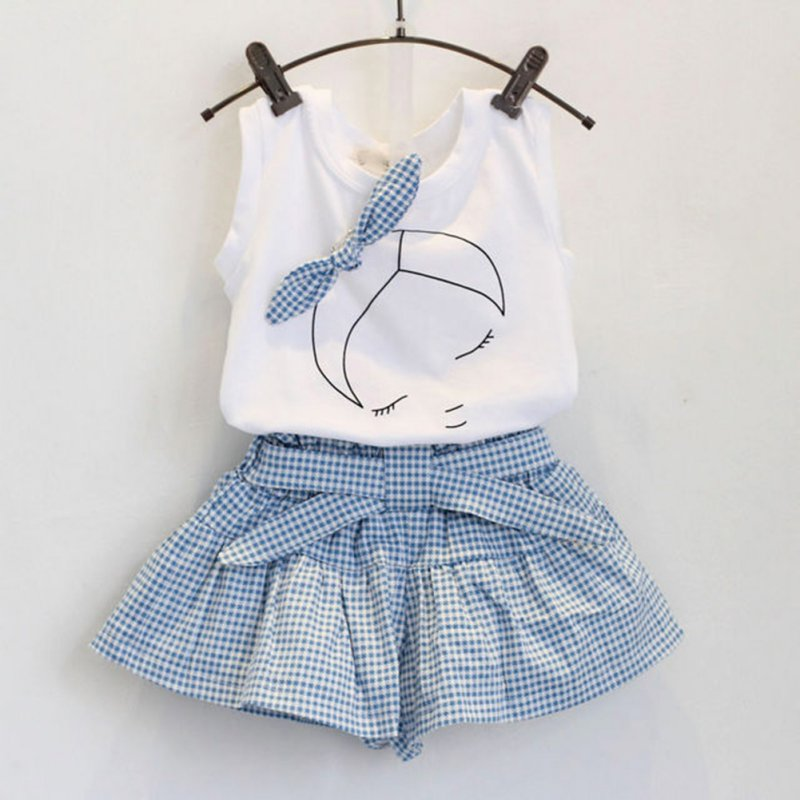 Summer 2pcs Baby Girls Suits Cute Clothes Sets White T Shirt and Plaid Blue Pants for 2-6 Years