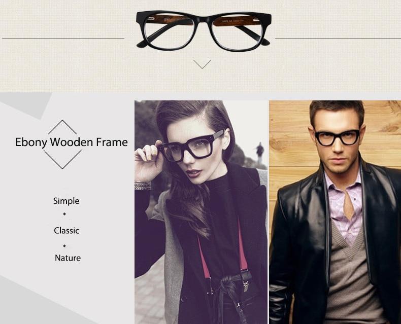47d9f16748b6 2019 Ebony Wooden Eyeglasses Wood Fashion Prescription Optical Frame ...