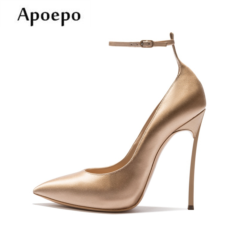 Apoepo 2018 Newest Ankle Strap High Heel Shoes for Woman Sexy Pointed Toe Stiletto Heels Thin Heels Wedding Heels for the Bride stiletto metallic ankle strap heels