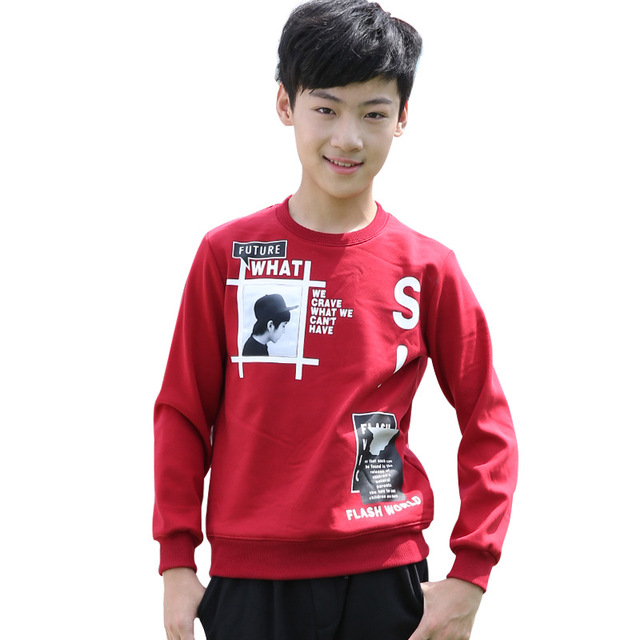 11-18 years Teenager boys long sleeve tshirts for autumn spring clothes Children kids boys tops clothes boy T Shirts wear YL182